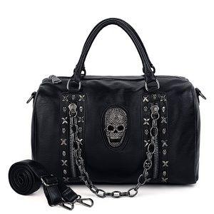 Skull Tote Bag Rivet Studded PU Leather NEW